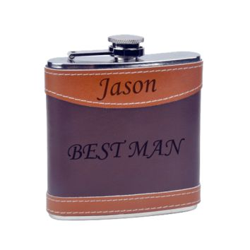 Custom Laser Engraved Two Tone Leather Hip Flask - 6oz