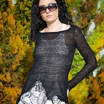 Black White Tunic, Distressed Top, Ripped Top, Long Sleeve Tunic, Two Piece Top, Loose Top, Plus Size Top, Avant Garde Top, Sheer Top