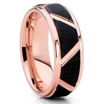 Black Tungsten Ring - Men's Wedding Band - Rose Gold Tungsten Band