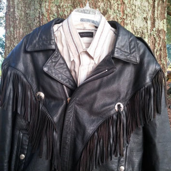 On Sale Vintage Wilsons Black Leather Fringe Jacket New Orleans Open Road Biker Motorcycle New Orleans 159.95