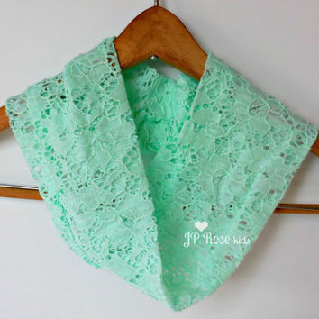 Mommy and Me Scarves, Lace Infinity Scarf, Mint Green, Stretch Nylon Lace, Family Outfits, Mother's Day Gift, Baby Shower Gift