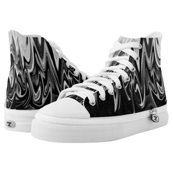 Black and white abstract pattern printed shoes