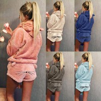 2 pieces set Women Warm Winter Set Two Piece Cute Cat Pajamas Hoodie Solid Color Sleepwear Plus Size Winter clothes conjuntos