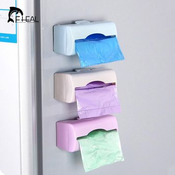 FHEAL Colorful Wall-mounted Garbage Bag Storage Box Container Multi-purpose Kitchen bathroom Organization Storage Plastic Tray