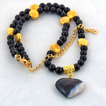 Black Blue Agate Heart Rainbow Obsidian Handmade Gemstone Pendant Necklace