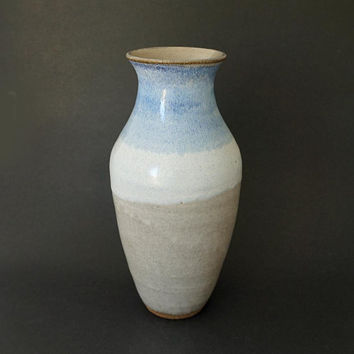 Ceramic vase, tall vase, blue vase, handmade, tall pottery vase, white and blue vase