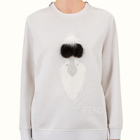 FENDI | KARLITO SWEATSHIRT in white jersey with fur embroidery | Fendi Online Store