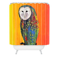 Clara Nilles Glowing Owl On Sunset Shower Curtain