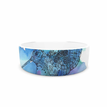 "Sonal Nathwani ""Hummingbird"" Blue Watercolor Pet Bowl"