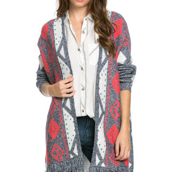 Aztec and Fringes Cardigan Coral
