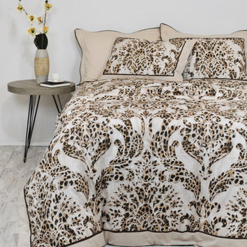 Leopard & Damask Duvet Cover Set in Brown, Beige for Full Queen King Size - Bordered Bedding in Leopard Print - Bohemian Style, Boho Bedding