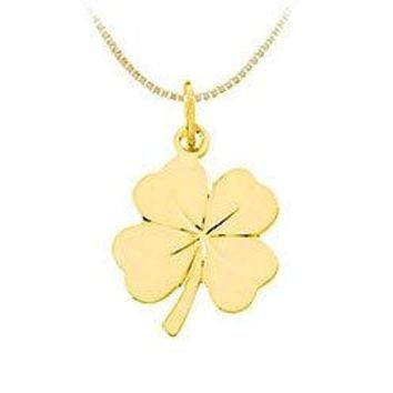 14K Yellow Gold 4 Leaf Clover Charm Pendant