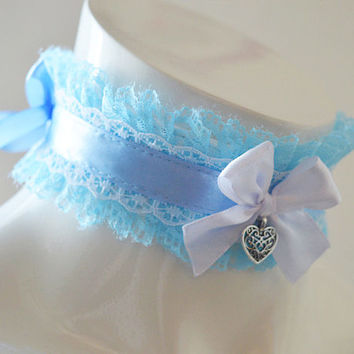 Kittenplay collar - Spring belle - ddlg little boy or princess cute kawaii pastel choker - harajuku fairy kei baby blue petplay gear