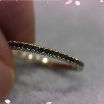 Solid 14K Rose Gold Black Diamonds Ring Engagement Ring Wedding Band Diamond Promise Ring Half Eternity Band