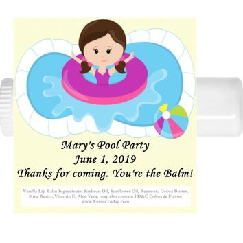 15 Pool Party Birthday Lip Balm Favors Brown Hair