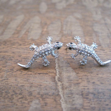Rhinestone Lizard Earrings - Silver Lizard Earrings - Lizard Earrings