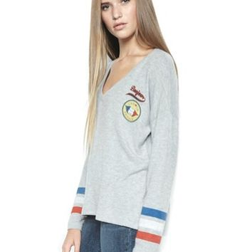Lauren Moshi Nat L/S V Neck Pullover in Heather Grey