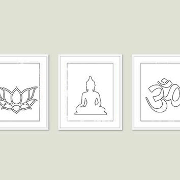 Namaste Set 3 Prints Lotus, Om and Buddha 8x10 inch Art Prints Modern Yoga Zen Meditation Inspirational Living Room Prints White Silhouettes