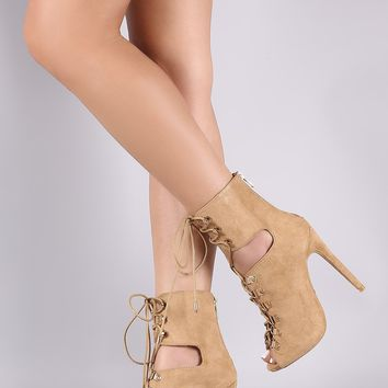 Suede Cutout Lace-Up Stiletto Booties