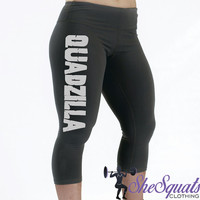 QuadZilla Performance Workout Capris. Compression Capri. Gym Pants. fitness Capri. Gym Leggings. Yoga Leggings. Compression Pants. Running.