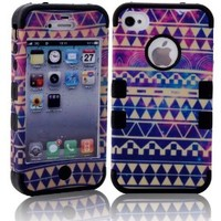 MagicSky PC + Silicone Galaxy Tribal Pattern Case for Apple iPhone 4/4S - 1 Pack - Retail Packaging - Black