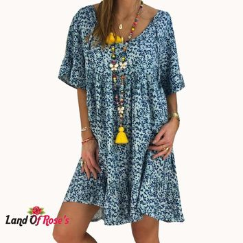 Plus-Size Short Sleeve Loose Boho Beach Midi Party Dress Size: S-5XL
