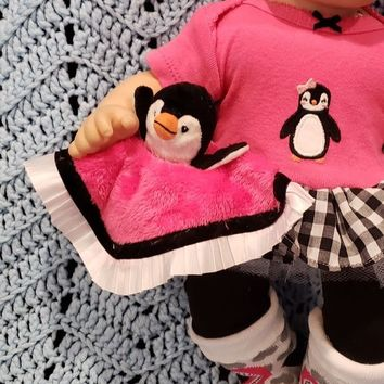 "15 inch baby doll lovey blankie blanket ""My Penguin Lovey"" security blanket J8"