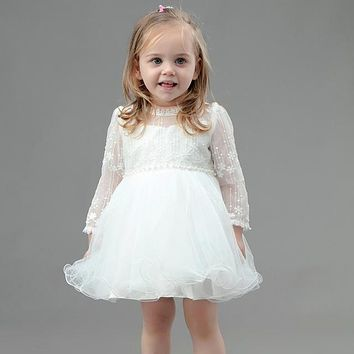 Newest Princess Baby Girl Hollow Out Long Sleeve Prom Birthday Party Dress Ivory Elegant Baptism Dresses