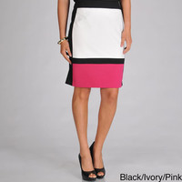 Focus 2000 Women's Ponte Color Blocked Mid-Length Skirt | Overstock.com