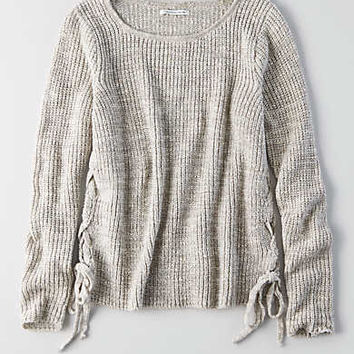 AEO Marled Lace-Up Sweater , Oatmeal