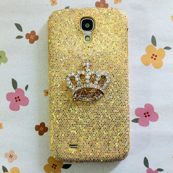 New Chic Luxury Bling Crystal Golden Crown Gold Sparkle Samsung Galaxy S4 i9500 Case