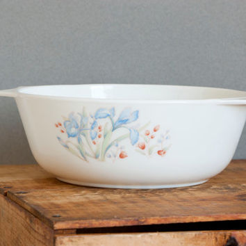 Vintage JAJ Pyrex Blue Iris Utility Dish, English Pyrex Serving Bowl Vegetable Bowl, Round Casserole Dish, Made in England