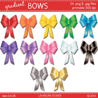 bow clip art in 12 colors, gradient bow clipart, holiday, christmas, easter, fall, commercial use, instant download , CA025