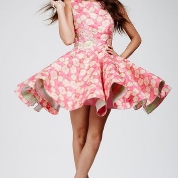Jovani 24704 Pink Floral Fit and Flare Homecoming Cocktail Dress.