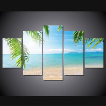 5 panel blue sea ocean beach with palm fronds wall art canvas print poster