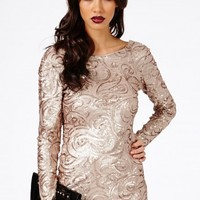 Missguided - Hatsumia Sequin Swirl Shift Dress In Gold