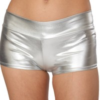 Silver (Metallic) Solid Color Booty Shorts