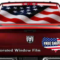 American Flag Patriotic Theme Full Color Print Perforated Film Truck SUV Back Window Sticker Perf007