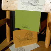 Unicorn Snail greeting card / birthday card. Folded, regular size, custom envelope. White, Tan or Green.