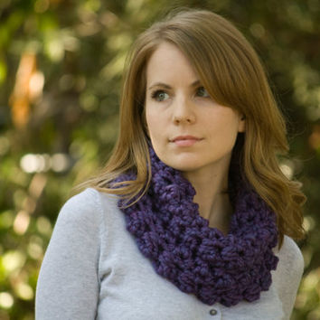 Purple Crochet Cowl, Chunky Neckwarmer, Women's Puff Stitch Neck Warmer