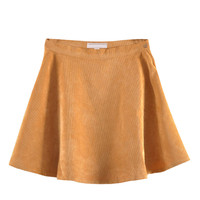 Corduroy Skater Skirt In Yellow - Choies.com