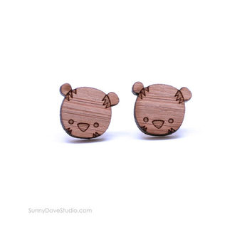 Tiger Earrings Cute Bamboo Stud Earrings Laser Cut Wood Wooden Studs Posts Fun Animal Jewelry Gifts For Friends Teens Girls Sister Niece Her