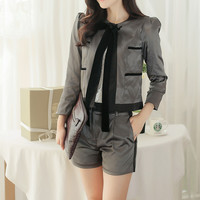 Gray Multi-Pocket Jacket with Shorts