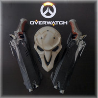 New Game Overwatch Reaper Cosplay Double Guns Mask Cosplay Props OW Weapon Gun