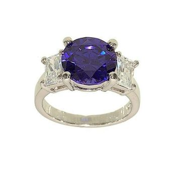 Striking Tanzanite Cubic Zirconia Center Three Stone Fashion Ring with Emerald Cut Sides in Clear CZ