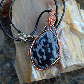 Snow flake Obsidian copper wire wrapped free form pendant with leather necklace