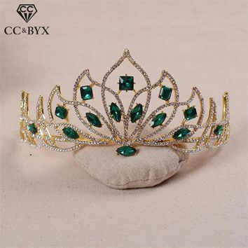 Crown Tiaras Hairbands Special Luxury Green Red Crystal Rhinestones Hair Accessories for Bride Handmade Jewelry