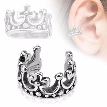 Crown Design Rhodium Plated Brass Non Piercing WildKlass Ear Cuff (Sold by Piece)