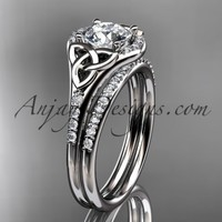 """platinum diamond celtic trinity knot wedding ring, engagement set with a """"Forever Brilliant"""" Moissanite center stone CT7126S"""