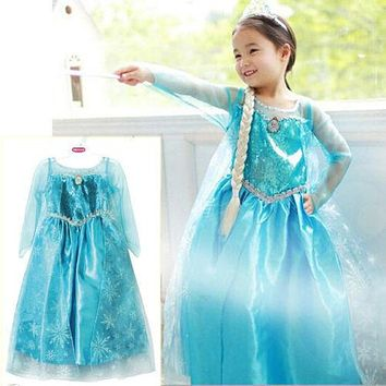 Promotion High Quality Girls Princess Anna Elsa Cosplay Costume Kid's Party Dress SZ 3-8Y Free Shipping